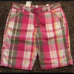 ❇️2/$17 Justice Girls Adjustable Plaid Shorts NWT